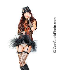 bonito, steampunk, mulher, jovem, retrato