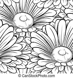 bonito, strokes., linhas, seamless, flowers., experiência preta, monocromático, branca, contorno, hand-drawn