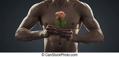 bonito, strongman, segurando, um, planta