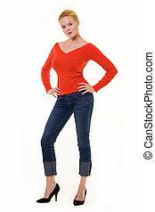 bonito, suéter, loura, vermelho