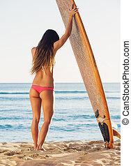 bonito, surfista, menina, em, excitado, biquíni