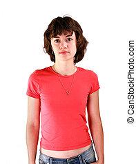 bonito, t-shirt, mulher, jovem, isolado, fundo, retrato, branco vermelho