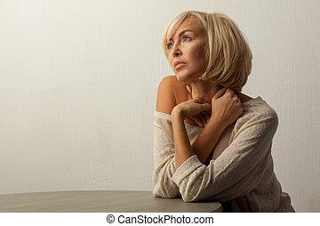 bonito, tabela, assento mulher