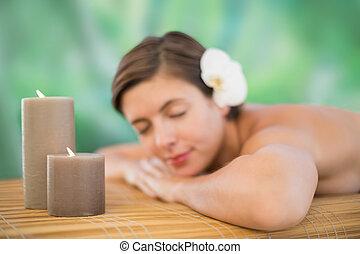 bonito, tabela, mulher, jovem, massagem