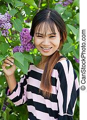 bonito, tailandês, mulher, com, alça, parque