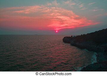 bonito, tailandia, pôr do sol, acima, mar