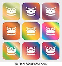 bonito, tambor, botões, luminoso, vetorial, nove, icon., gradients, design.