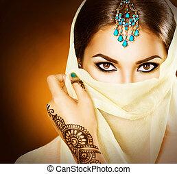 bonito, tatuagem, mulher, hindu, jovem, indianas, portrait...