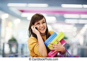 bonito, telefone, centro comercial, shopping mulher