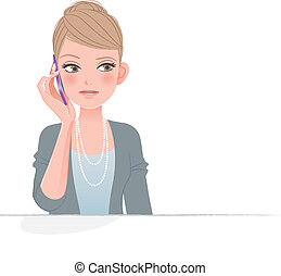 bonito, telefone, frowning, mulher