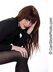 bonito, tights, mulher, pretas