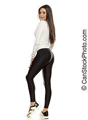 bonito, tights, mulher, pretas, jovem