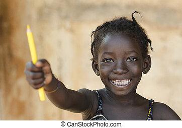 bonito, toothy, áfrica, jovem, symbol:, schoolgirl, sorrizo,...