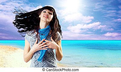 bonito, tr, ensolarado, jovem, cabelo, caucasiano, vento, mulheres