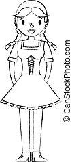 bonito, tradicional, bavarian, mulher, vestido