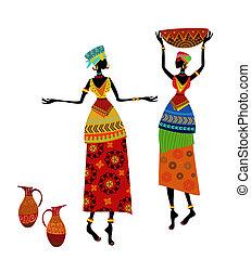 bonito, tradicional, mulher, traje, africano
