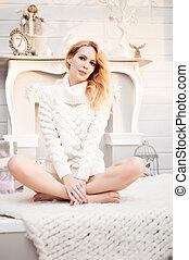 bonito, tricotado, suéter, mulher, branca