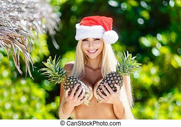 bonito, tropicais, abacaxis, island., tropics., feriados, alegre, selva, segurando, ano, novo, loiro, chapéu, natal, peito