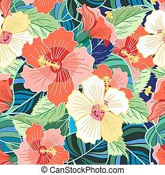 bonito, tropicais, coloridos, padrão