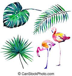 bonito, tropicais, flamingo, folhas, aquarela, palma