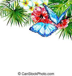 bonito, tropicais, folhas, flores, aquarela, palma