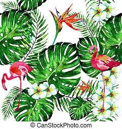 bonito, tropicais, folhas palma, e, flamingo, aquarela
