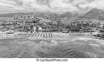 bonito, tropicais, praia, aéreo, vista