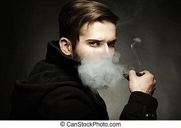 bonito, tube., fumaças, jovem, cima, escuro, artisticos, retrato, fim, man., homem