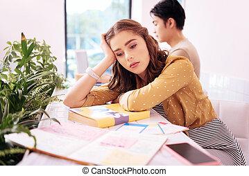 bonito, tudo, cansadas, estudar, após, estudante, sentimento, dia