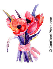 bonito, tulips, pintura aquarela, flores