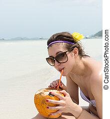 bonito, turista, mulher, ligado, férias verão, praia