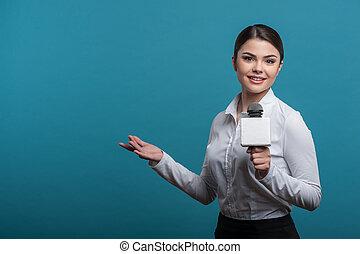 bonito, tv, elaboração do relatório, jornalista, bonito, sorrizo, menina