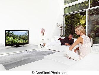 bonito, tv, par, observar