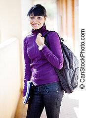 bonito, universidade, indianas, aluno feminino
