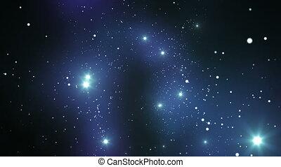 bonito, vôo, através, a, stars.