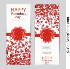 bonito, valentine, saudação, ilustração, day., vetorial, cartões, arcos, vermelho