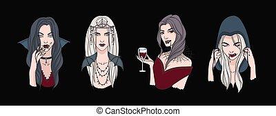 bonito, vampires., senhoras, jogo, experiência., retratos, blood., isolado, pacote, escuro, elegante, vetorial, gótico, ilustração, femininas, realístico, cobrança, bebendo, assustador, style., criaturas