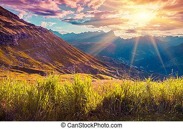 bonito, verão, alpes, paisagem, italiano