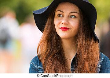 bonito, verão, ao ar livre, na moda, retrato, menina, chapéu, dia
