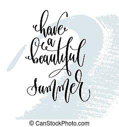 bonito, verão, aproximadamente, lettering, cartaz, tempo, -, tipografia, mão, ter, citação, positivo