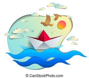 bonito, verão, brinquedo, sky., seascape, ilustração, viagem, água, holidays., papel, vetorial, mar, panorâmico, flutuante, origami, navio, ondas oceano, pássaros, bote, natação