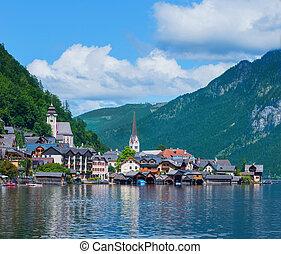 bonito, verão, cidade, hallstatt, alpino