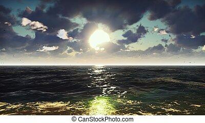 bonito, verão, fazendo, natureza, férias, vista, resort., sunrise., oceânicos, experiência., mar, agradável, 3d