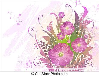 bonito, verão, flores, grunge, fundo