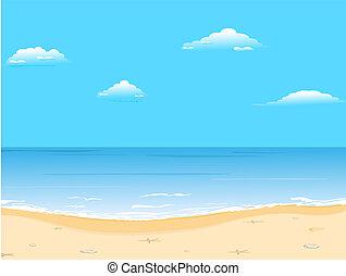 bonito, verão, fundo, com, praia