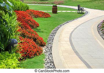 bonito, verão, jardim, com, um, passagem, enrolamento, seu,...