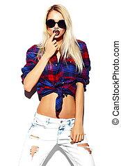 bonito, verão, look.glamor, moda, óculos de sol, jovem, alto, pano, luminoso, mulher, hipster, loura, elegante, excitado, modelo