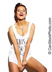 bonito, verão, look.glamor, moda, coloridos, jovem, alto, pano, luminoso, mulher, hipster, lábios, elegante, modelo, vermelho