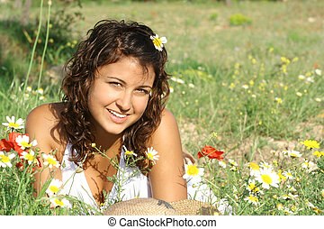 bonito, verão, menina, com, perfeitos, branca, dentes, e, sorrizo