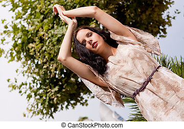 bonito, verão, mulher, ao ar livre, morena, moda